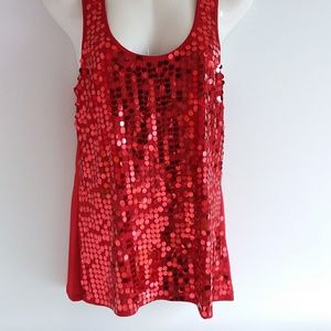 Eyeshadow Red Sequin Knit Tank Top